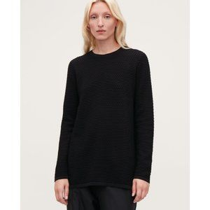 COS Textured Cotton A-Line Long Sleeve Crew Top